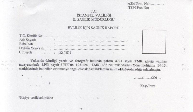 İstanbul il sağlık müdürlüğü, evlilik için sağlık raporu formu