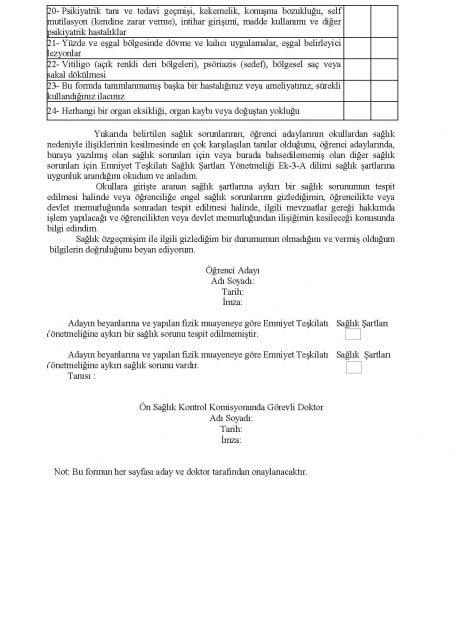 Emniyet Teşkilatı Sağlık Bilgi Formu