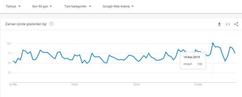 Google Trends 2019 Ağustos Kasım  ayları Ehliyet ile ilgili arama istatistikleri