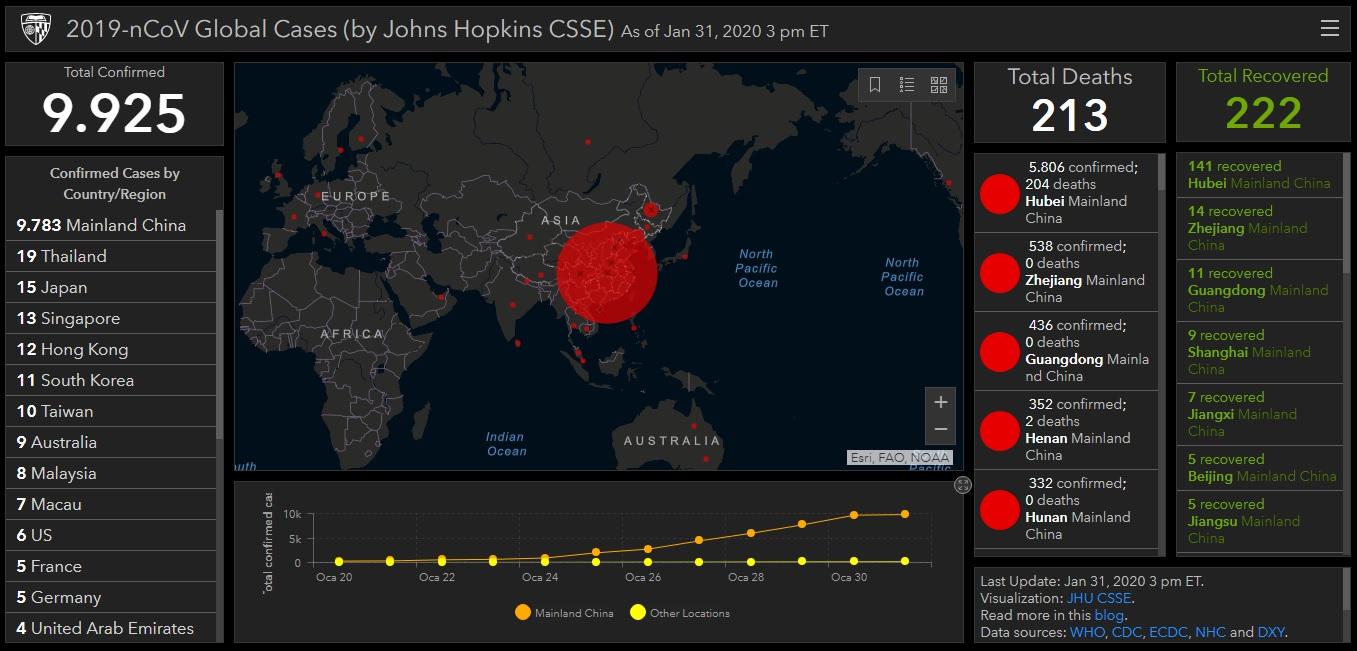 Koronavirüs (SARS-CoV-2) nedir. Dünya çapı yayılım haritası