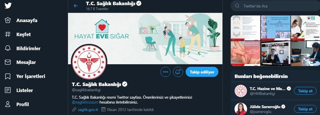 Sağlık Bakanlığı Twitter hesabı