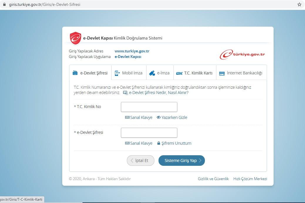 E Devlet Kapısı Kimlik Doğrulama Sistemi Sayfası