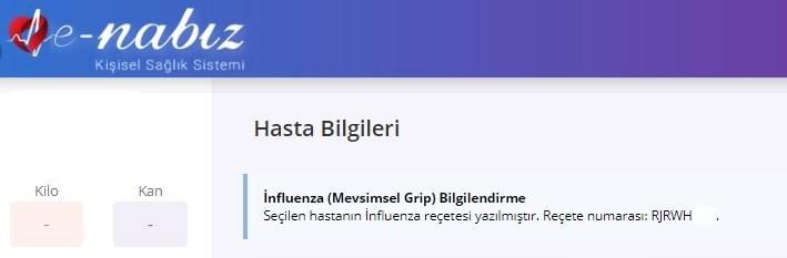 E-Nabız Hasta Bilgileri - İnfluenza Bilgilendirme ekranı