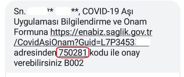 Covid-19 Aşı Uygulaması Bilgilendirme ve Onam Formu erişim için kısa mesaj örneği