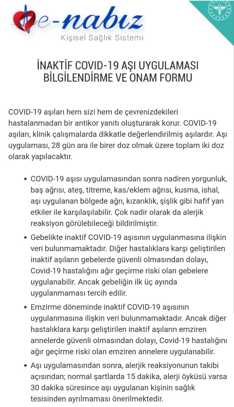 İnaktif Covid-19 Aşı Uygulaması Bilgilendirme ve Onam Formu