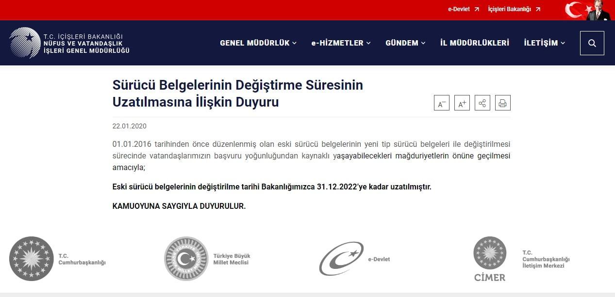 Eski tip sürücü belgelerinin değiştirilme tarihi 31.12.2022