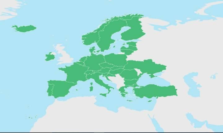 AB Covid-19 Dijital Sertifikası geçerli ülkeler. (23 Ağustos itibari ile harita henüz güncellenmedi)