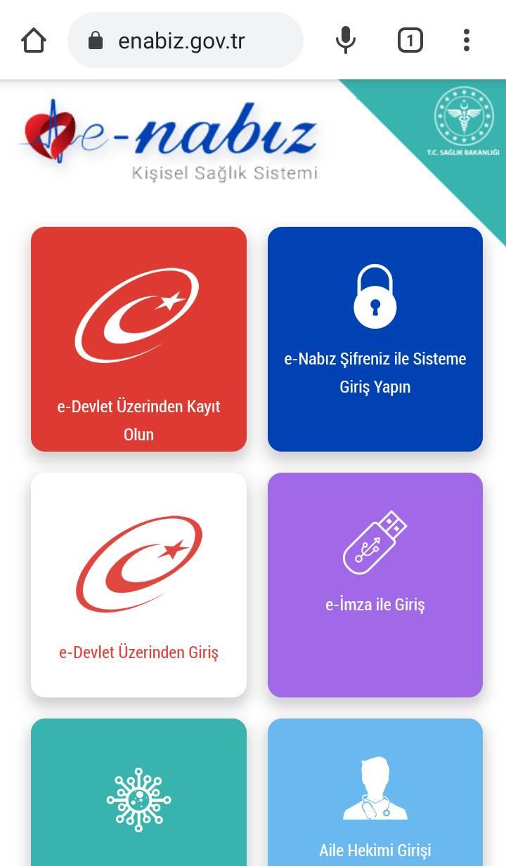 Cep telefonu ile E Nabız internet sitesine giriş yapalım. Cep telefonundaki E-Nabız uygulaması (v2.8.9) şimdilik işe yaramıyor