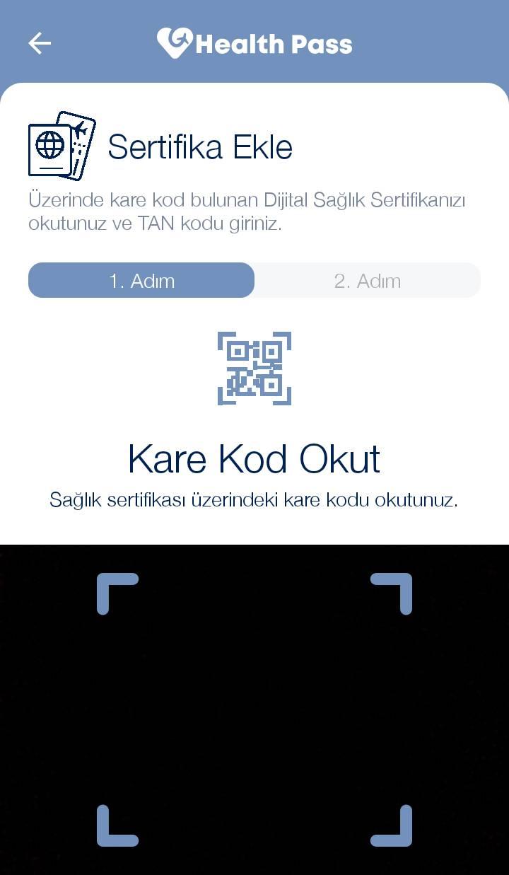 E-Nabız internet sitesinde daha önce oluşturduğunuz aşı sertifikalarının karekodlarını okutup, Dijital Sağlık Cüzdanınıza aktarabilirsiniz.