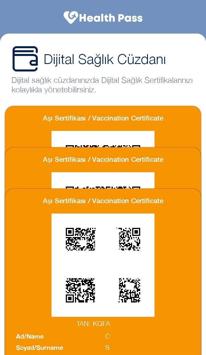 Health Pass Dijital Sağlık Cüzdanında 3 ayrı aşıya ait dijital aşı sertifikaları kayıtlı halde