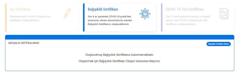 Son 6 ay içerisinde COVID-19 pozitif test sonucunuz olması durumunda E-Nabız sitesinden Bağışıklık Sertifikanızı oluşturabilirsiniz.