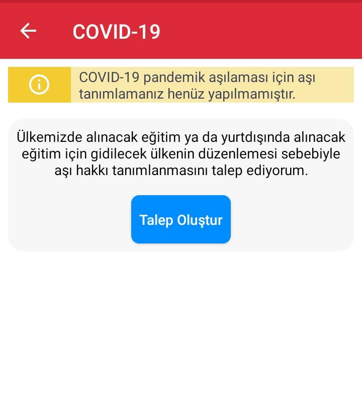 05 Eylül 2021 saat 19:00 itibari ile 12 yaş üstü çocuklar için Covid 19 aşı hakkı talep oluşturma