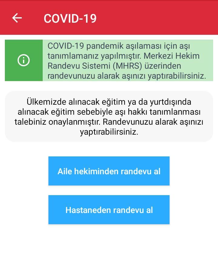 Covid 19 aşısı için Aile Hekiminden veya Hastaneden randevu alma ekranı
